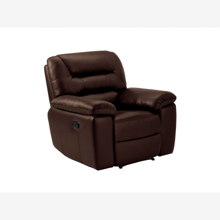 Devon Armchair with Electric Recliner - 2 Tone Brown Leather - Image 3