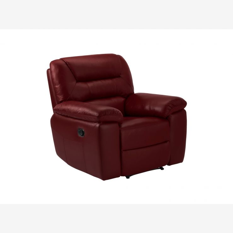 Devon Armchair with Electric Recliner - Burgundy Leather