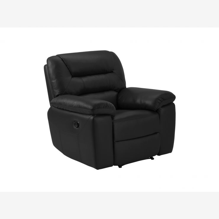 Devon Armchair with Manual Recliner - Black Leather