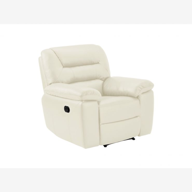 Devon Armchair with Manual Recliner - Cream Leather