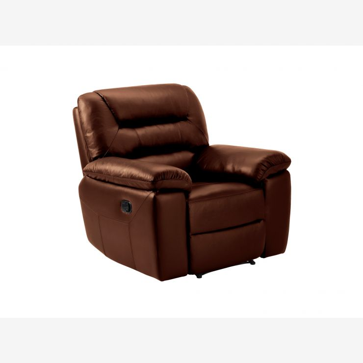 Devon Armchair with Manual Recliner - Tan Leather - Image 4