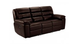 Devon 3 Seater Electric Sofa with 2 Recliners - 2 Tone Brown Leather image
