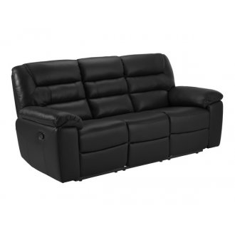 Devon 3 Seater Electric Sofa with 2 Recliners - Black Leather