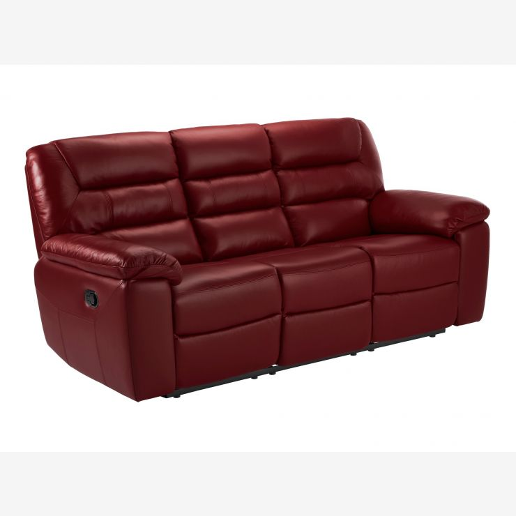 Devon 3 Seater Electric Sofa with 2 Recliners - Burgundy Leather - Image 4