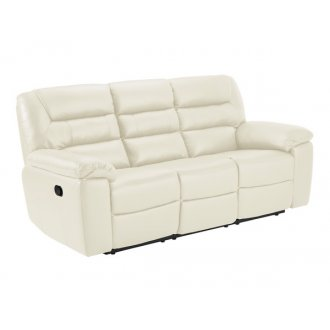 Devon 3 Seater Electric Sofa with 2 Recliners - Cream Leather