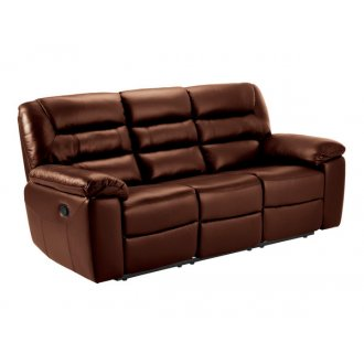 Devon 3 Seater Electric Sofa with 2 Recliners - Tan  Leather