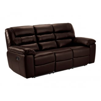 Devon 3 Seater Manual Sofa with 2 Recliners - 2 Tone Brown Leather