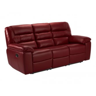 Devon 3 Seater Manual Sofa with 2 Recliners - Burgundy Leather
