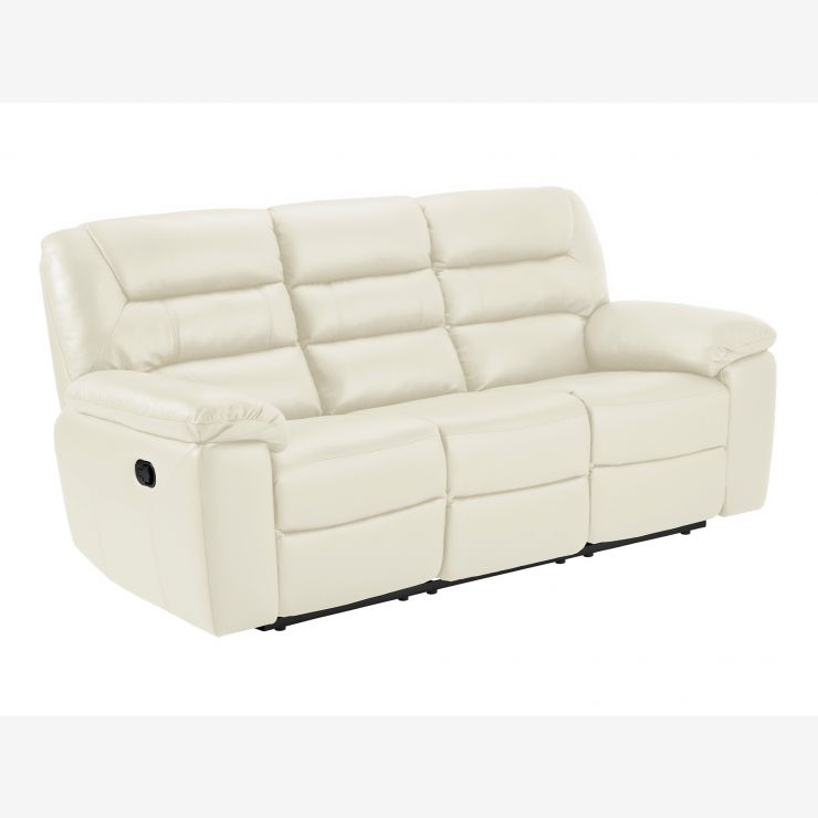 Devon 3 Seater Manual Sofa with 2 Recliners - Cream Leather
