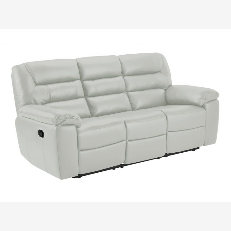Devon 3 Seater Manual Sofa with 2 Recliners - Grey Leather