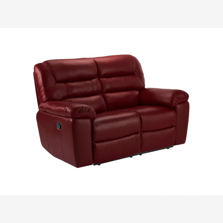 Devon 2 Seater Sofa with Electric Recliners - Burgundy Leather - Image 4