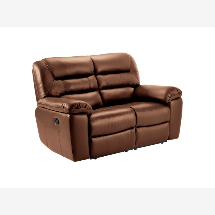 Devon 2 Seater Sofa with Manual Recliners - Tan Leather