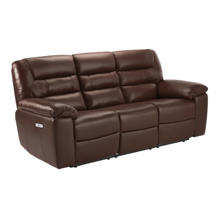 Devon 2 Tone Brown Leather 3 Seater Electric Recliner Sofa