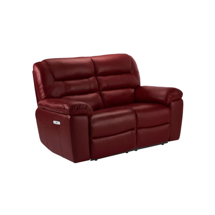 Devon Burgundy Leather 2 Seater Electric Recliner Sofa