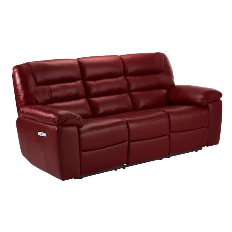 Devon Burgundy Leather 3 Seater Electric Recliner Sofa