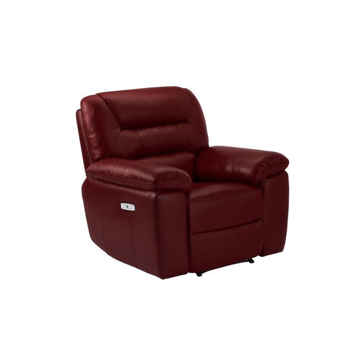 Devon Burgundy Leather Electric Recliner Armchair