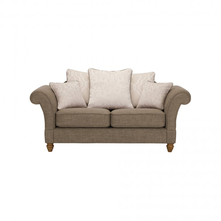Dorchester 2 Seater Pillow Back Sofa in Civic Pebble with Oyster Scatters - Image 1
