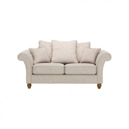 Dorchester 2 Seater Pillow Back Sofa in Civic Stone with Oyster Scatters