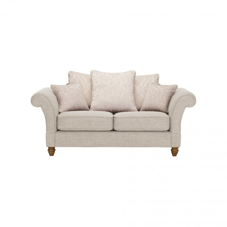 Dorchester 2 Seater Pillow Back Sofa in Civic Stone with Oyster Scatters - Image 1