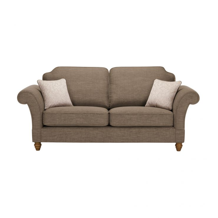 Dorchester 3 Seater High Back Sofa in Civic Pebble with Oyster Scatters - Image 1