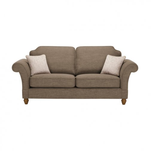 Dorchester 3 Seater High Back Sofa in Civic Pebble with Oyster Scatters