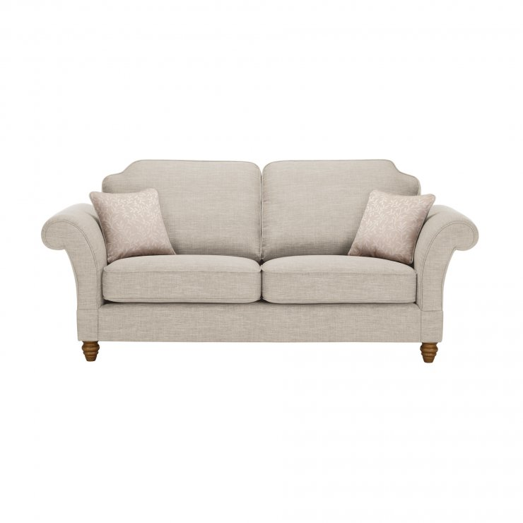 Dorchester 3 Seater High Back Sofa in Civic Stone with Oyster Scatters - Image 1
