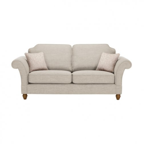 Dorchester 3 Seater High Back Sofa in Civic Stone with Oyster Scatters