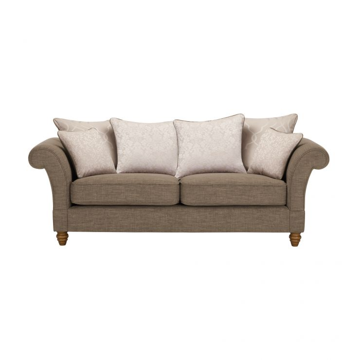 Dorchester 3 Seater Pillow Back Sofa in Civic Pebble with Oyster Scatters - Image 1