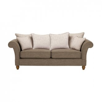 Dorchester 3 Seater Pillow Back Sofa in Civic Pebble with Oyster Scatters