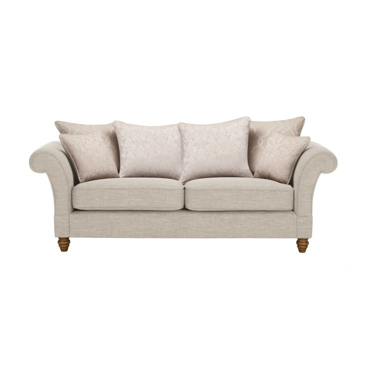 Dorchester 3 Seater Pillow Back Sofa in Civic Stone with Oyster Scatters - Image 1