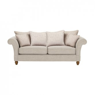 Dorchester 3 Seater Pillow Back Sofa in Civic Stone with Oyster Scatters