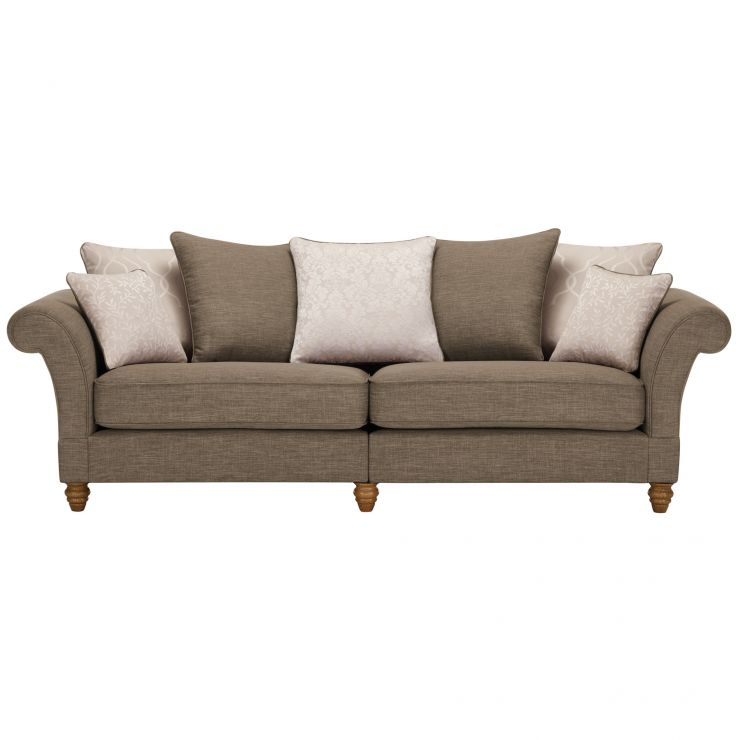Dorchester 4 Seater Pillow Back Sofa in Civic Pebble with Oyster Scatters - Image 1