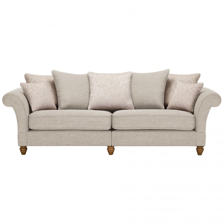 Dorchester 4 Seater Pillow Back Sofa in Civic Stone with Oyster Scatters - Image 1