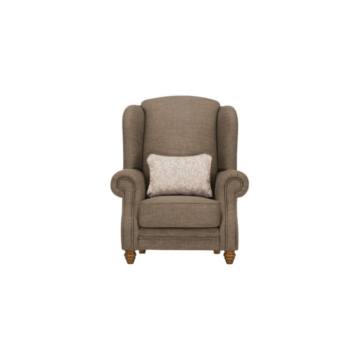 Dorchester Wing Chair in Civic Pebble with Oyster Scatter - Image 1