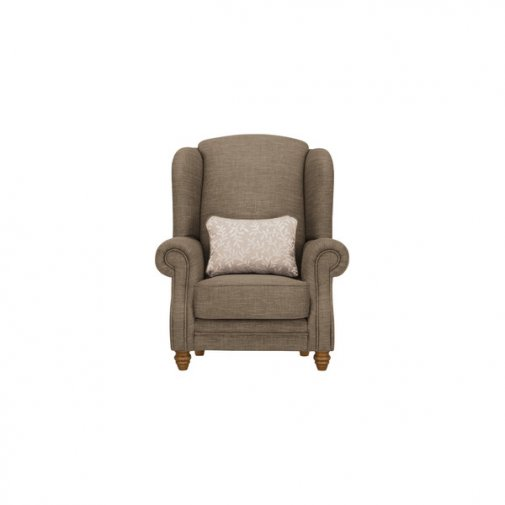 Dorchester Wing Chair in Civic Pebble with Oyster Scatter
