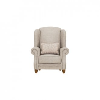 Dorchester Wing Chair in Civic Stone with Oyster Scatter