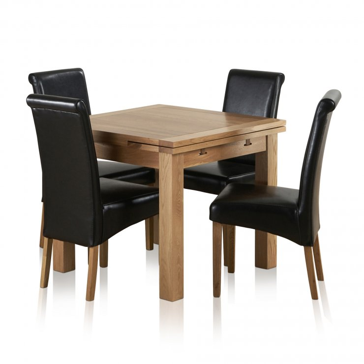 Dorset 3ft x 3ft Natural Solid Oak Extending Dining Set + 4 Black Leather Chairs - Image 8