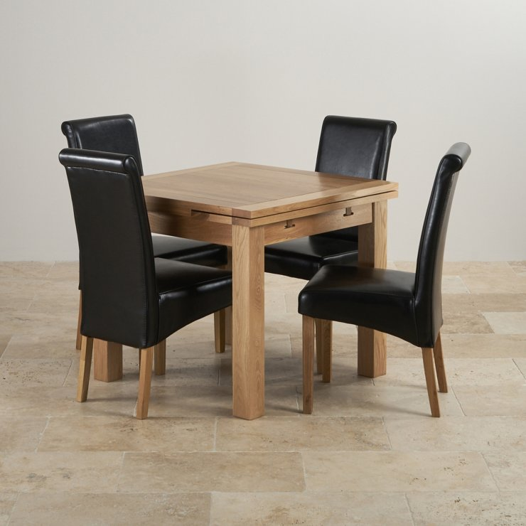 Dorset 3ft x 3ft Natural Solid Oak Extending Dining Set + 4 Black Leather Chairs