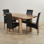 Dorset 3ft x 3ft Natural Solid Oak Extending Dining Set + 4 Black Leather Chairs - Thumbnail 3