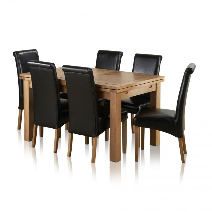 """Dorset 4ft 7"""" x 3ft Natural Solid Oak Extending Dining Table + 6 Black Leather Scroll Back Chairs - Image 8"""
