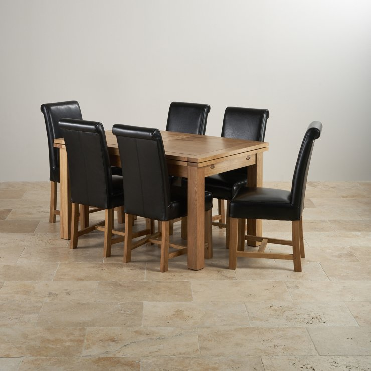 """Dorset 4ft 7"""" x 3ft Solid Oak Extending Dining Table + 6 Black Leather Braced Scroll Back Chairs - Image 7"""