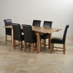 """Dorset 4ft 7"""" x 3ft Solid Oak Extending Dining Table + 6 Black Leather Braced Scroll Back Chairs - Thumbnail 2"""