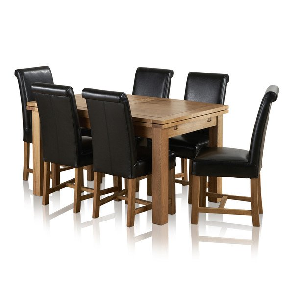 "Dorset 4ft 7"" x 3ft Solid Oak Extending Dining Table + 6 Black Leather Braced Scroll Back Chairs"