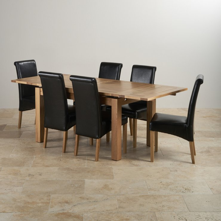 "Dorset 4ft 7"" x 3ft Natural Solid Oak Extending Dining Table + 6 Black Leather Scroll Back Chairs"