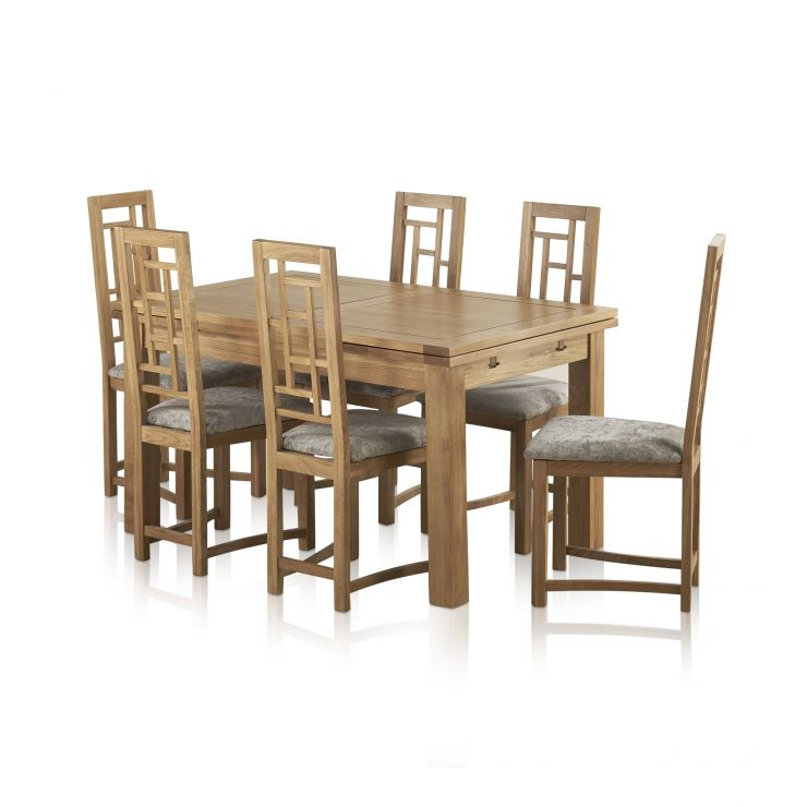 "Dorset Natural Oak Dining Set - 4ft 7"" Extending Table + 6 Fret Back & Plain Truffle Fabric Chairs"