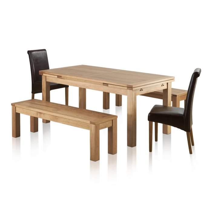 """Dorset Natural Oak Dining Set - 6ft Extending Table with 2 x 4ft 11"""" Benches and 2 x Scroll Back Brown Leather Chairs - Image 8"""