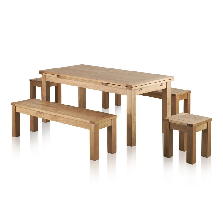 "Dorset Natural Oak Dining Set - 6ft Extending Table with 2 x 4ft 11"" Benches and 2 x Square Stools - Image 1"