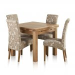 Dorset Natural Solid Oak 3ft Extending Table + 4 Scroll Back Patterned Beige Fabric Chairs - Thumbnail 1