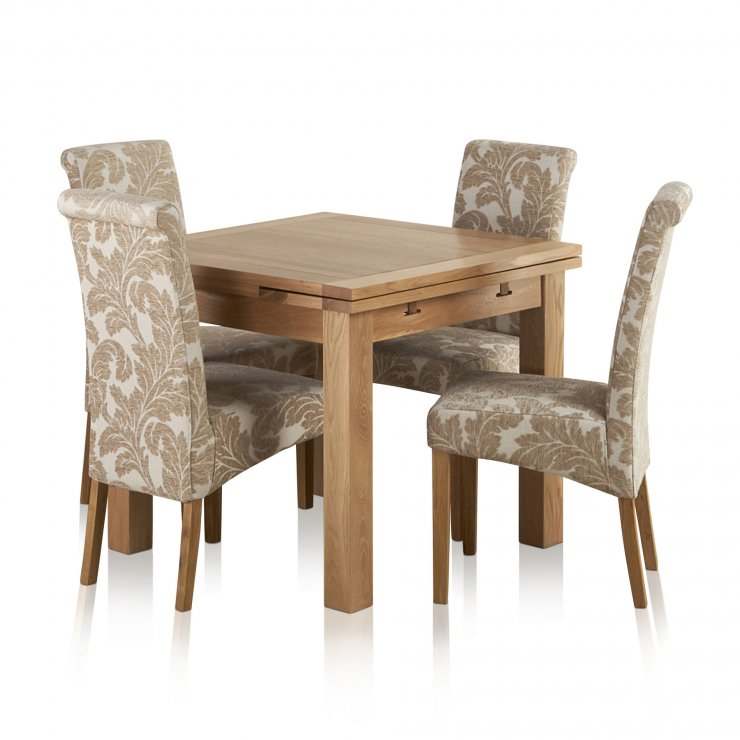 Dorset Natural Solid Oak 3ft Extending Table + 4 Scroll Back Patterned Beige Fabric Chairs - Image 7