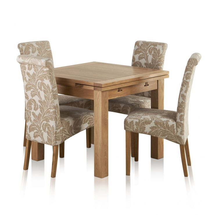 590ebef325 Dorset Natural Solid Oak 3ft Extending Table + 4 Scroll Back Patterned  Beige Fabric Chairs - Express Delivery
